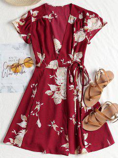 Cap Sleeve Wrap Mini Tea Dress - Claret S