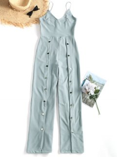 Snap-button Wide Leg Jumpsuit - Stone Blue M