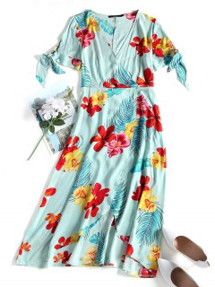 Tropisches Blumen Midi Surplice Kleid - Grün Xl