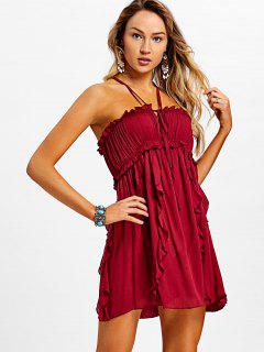 Criss Cross Ruffled Cami Dress - Wine Red L