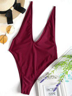 Plunging Neck High Cut One Piece Swimwear - Burgundy M