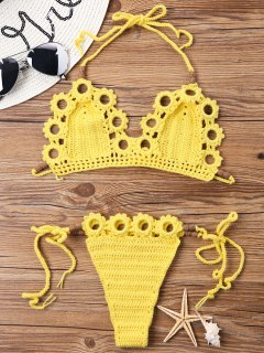 Knit Crochet Halter Bikini Set - Yellow L
