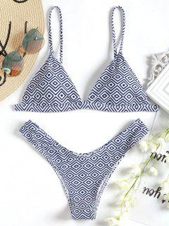 High Cut Argyle Bikini Set - S