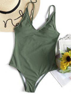 Cami Ladder Cut One Piece Swimwear - Army Green S