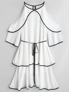 Cold Shoulder Tiered Belted Dress - White M