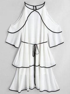 Cold Shoulder Tiered Belted Dress - White L