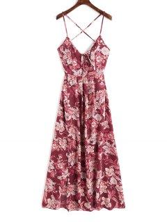 Cami Criss Cross Floral Maxi Dress - Deep Red S