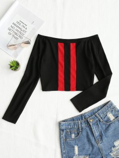 Knitted Two Tone Off Shoulder Top - Black L