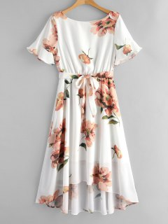 Flower Print Belted High Low Dress - White M