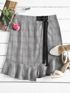 High Waist Ruffles Asymmetric Plaid Skirt - Gray S