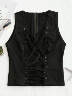 Back Zipper Criss Cross Tank Top - Black