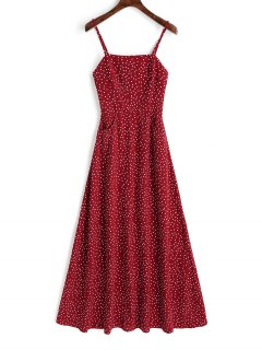 Smocked Panel Polka Dot Maxi Dress - Red L