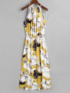 Robe Longue Florale Sans Manches à Fente - Floral Xl