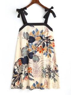 Robe Courte Florale à Bretelles à Noeud Papillon - Beige M