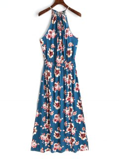 Keyhole Back Floral Maxi Dress - Floral L