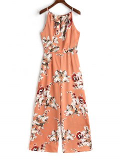 Cut Out Back Floral Wide Leg Jumpsuit - Floral S