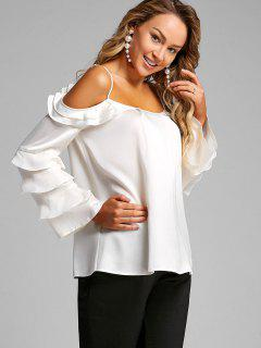 Layered Rüschen Cold Shoulder Bluse - Beige (weis) Xl