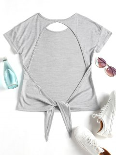Knotted Backless Sport T-shirt - Light Gray S