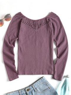 Thumbhole Long Sleeve Sport Top - Purple M