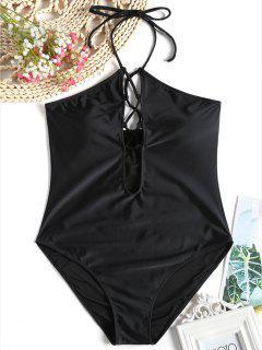High Cut Lace Up One Piece Swimsuit - Black 2xl