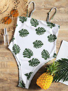 Plam Leaf Print High Cut One Piece Swimsuit - White L