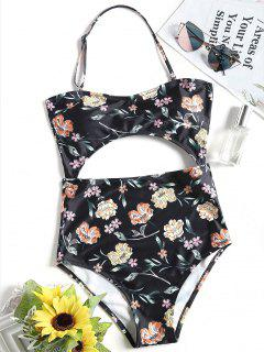 Halter Floral Cut Out One Piece Swimsuit - Black S