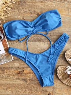 Cinched Bandeau Bikini Set - Blue M