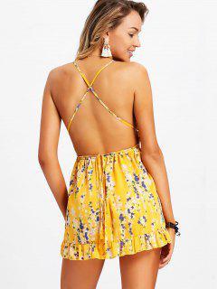 Jupe Short Mini Robe Sans Manches Florale Minuscule à Dos Nu - Jaune M