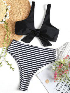 Knotted Top With Striped High Cut Bikini Bottoms - Black M