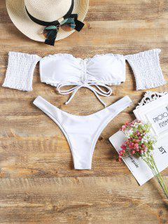 Off Shoulder Smocked Sleeve Cinched Bikini Set - White L