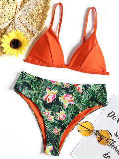 Maillot De Bain Bikini Échancré à Imprimé Feuilles - Orange S