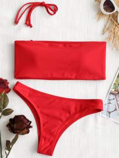 High Cut Bandeau Thong Bathing Suit - Red Xs