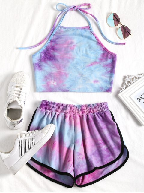 women Tie Dyed Crop Top and Shorts Set - PURPLE AND BLUE L Mobile