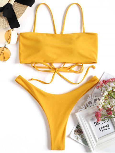 Conjunto de bikini de tanga cruzado de corte alto - Jengibre M Mobile