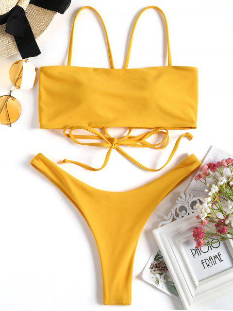 outfits Cross Back High Cut Thong Bikini Set - GINGER S Mobile