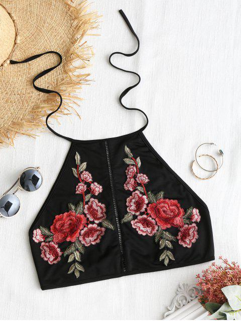 trendy Floral Applique High Neck Top - BLACK XL Mobile