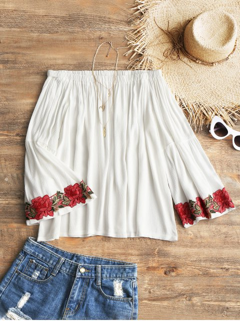 best Off Shoulder Floral Applique Cover Up Top - WHITE S Mobile