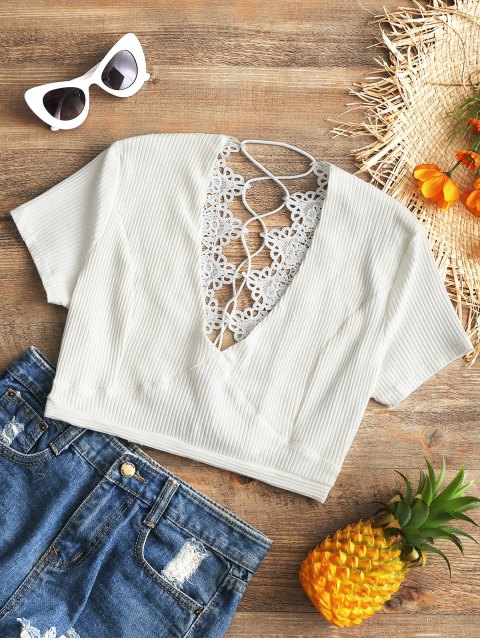 sale Crochet Panel Plunge Lace Up Cropped Cover Up - WHITE S Mobile