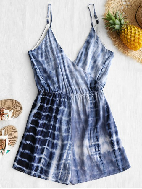hot Cami Tie Dyed Surplice Cover Up Romper - COLORMIX S Mobile