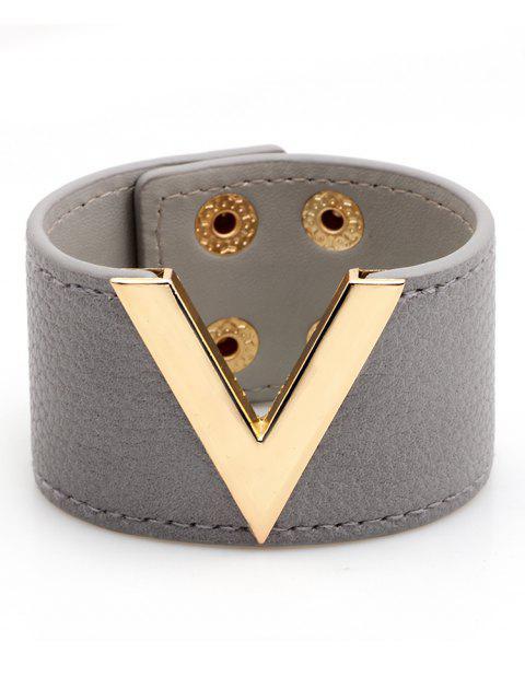 V-Form Kunstleder Breites Armband - Grau  Mobile