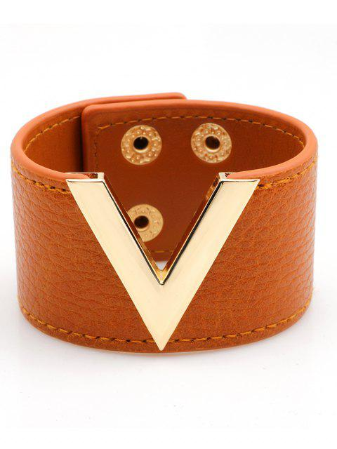 V-Form Kunstleder breites Armband - Gelb Orange   Mobile