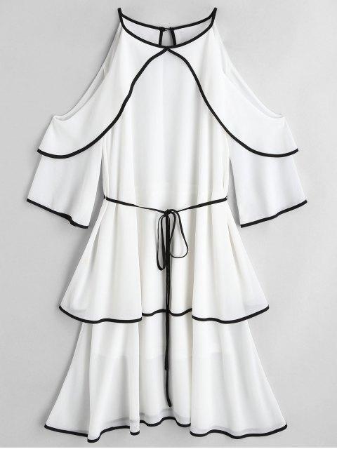 Cold Shoulder Kleid mit Gürtel und Gürtel - Weiß S Mobile