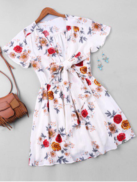 affordable Floral Print Short Faux Wrap Dress - WHITE L Mobile