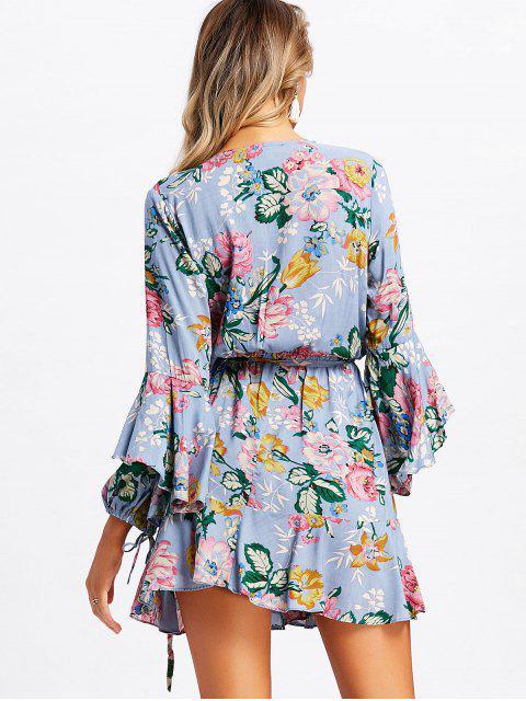 Minifalda con pliegues florales - azul Piedra M Mobile