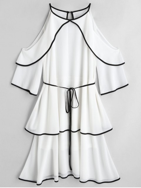 lady Cold Shoulder Tiered Belted Dress - WHITE L Mobile
