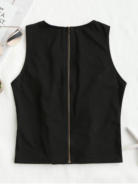 best Back Zipper Criss Cross Tank Top - BLACK ONE SIZE Mobile
