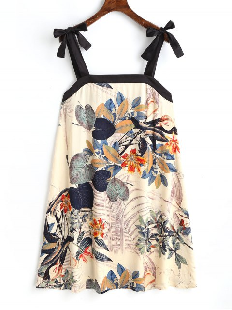 women Floral Bowknot Straps Mini Dress - BEIGE XL Mobile