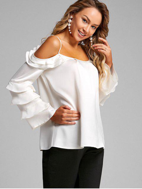 Blusa con hombros fruncidos con volantes en capas - Blanco XL Mobile