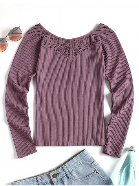 affordable Thumbhole Long Sleeve Sport Top - PURPLE M Mobile