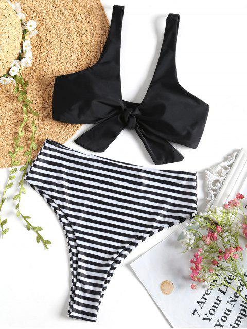 outfits Knotted Top with Striped High Cut Bikini Bottoms - BLACK S Mobile